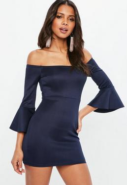 Navy Metallic Bardot Frill Sleeve Bodycon Dress