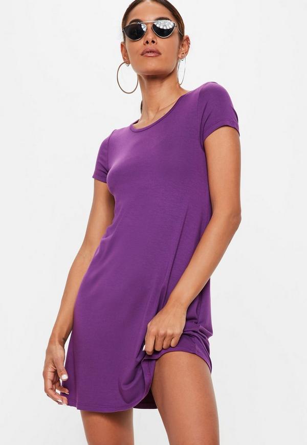 purple cap sleeve swing t shirt dress missguided
