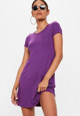 Purple Cap Sleeve Swing T Shirt Dress