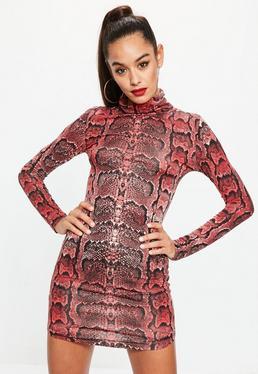Red Snake Print High Neck Curve Hem Dress