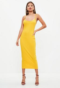 Yellow Strappy Ribbed Bodycon Midi Dress