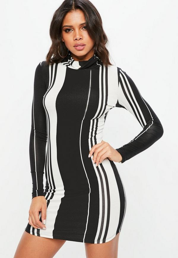 Black Stripe Long Sleeve Bodycon Dress by Missguided
