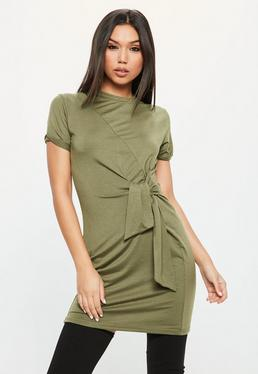 Khaki Jersey Round Neck Shift Dress