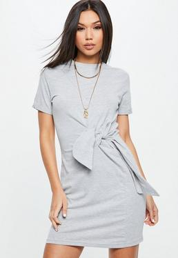 Gray Jersey Round Neck Tie Front Shift Dress