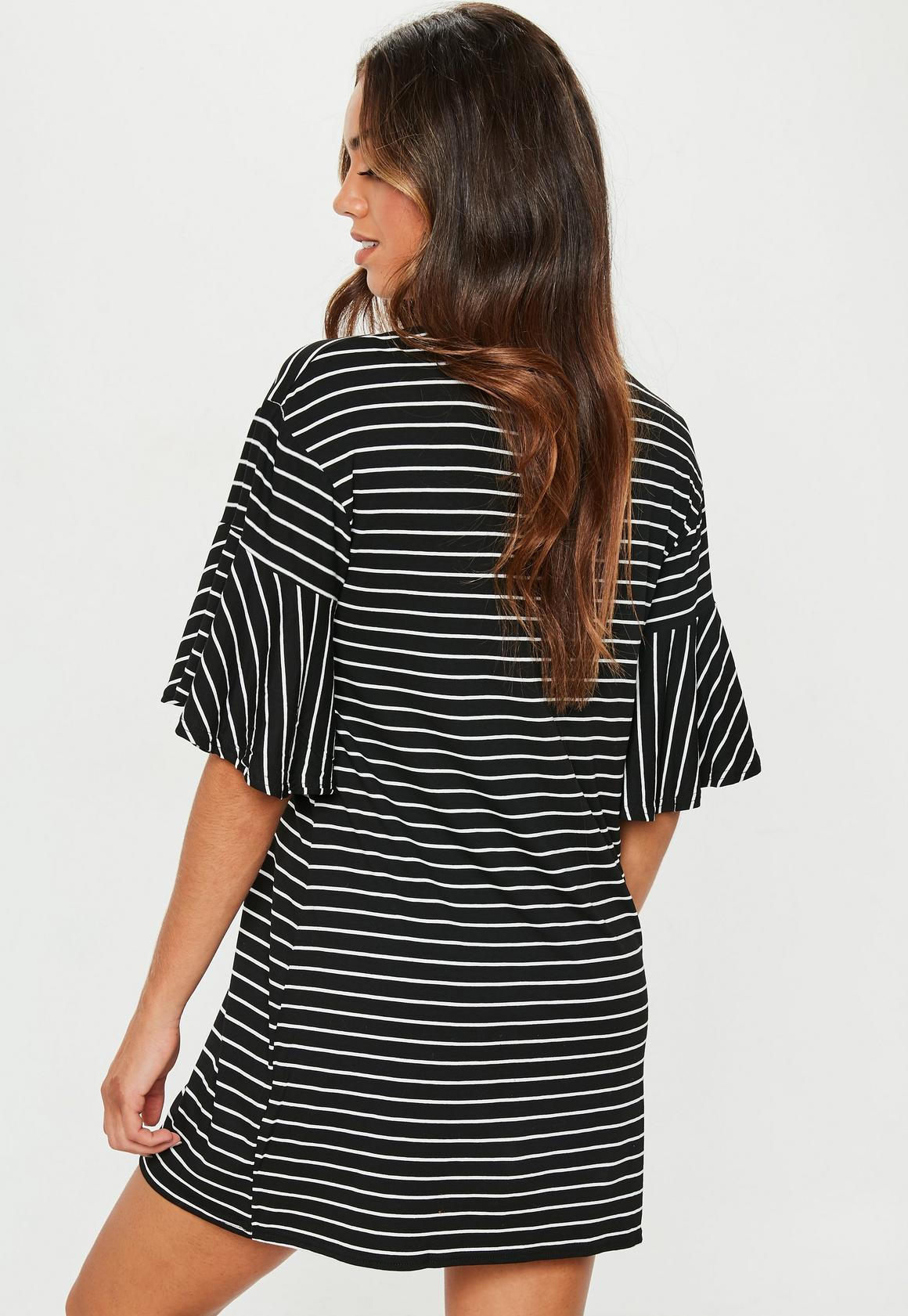 a882061e47 Missguided - Black Striped Jersey Frill Sleeve Detail T Shirt Dress, Black  - 4