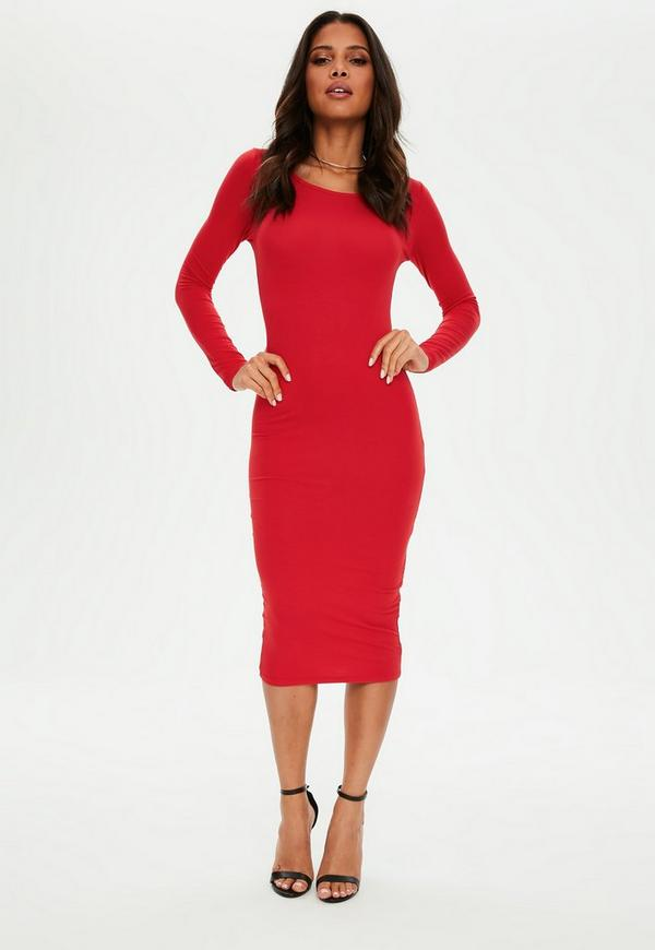 Basic Langarm-Midikleid in Rot | Missguided