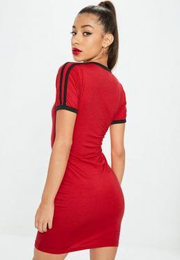 Red Sports Stripe Bodycon T Shirt Dress