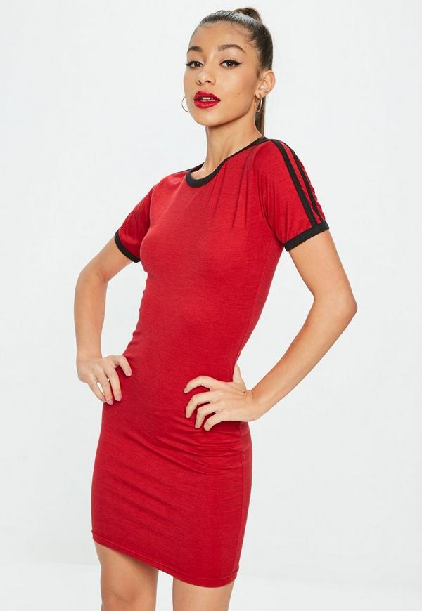 Red sports stripe bodycon t shirt dress missguided for Sporty t shirt dress