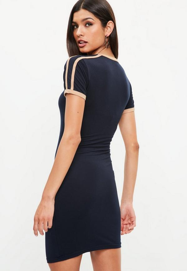 Navy sports bodycon t shirt dress missguided for Sporty t shirt dress