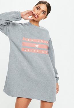 Grey Logo Brush Back Oversized Sweater Dress