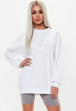 Biały owersajzowa sukienka bluza