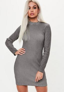 Grey High Neck Long Sleeve Dress