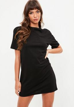 Black Short Sleeve Crew Neck T Shirt Dress