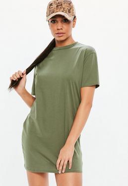 Vestido camiseta con cuello redondo de manga corta en caqui