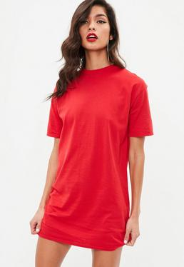 Red Short Sleeve Crew Neck T Shirt Dress