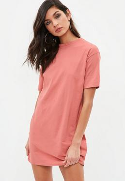 Pink Crew Neck T-shirt Dress