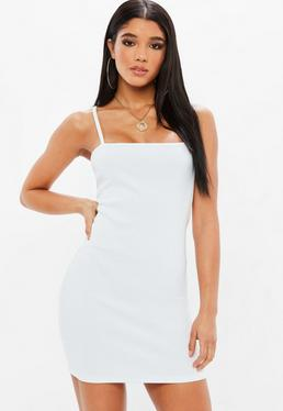 White Ribbed Square Neck Stry Bodycon Dress