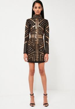 Peace + Love Hochgeschlossenes Opulent Verziertes Mini-Kleid in Schwarz