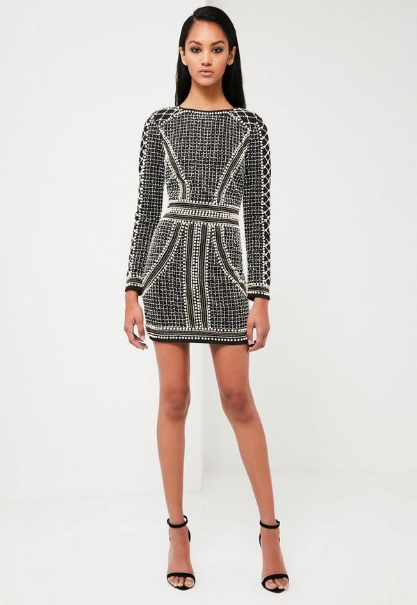 Peace love black embellished long sleeve dress missguided - Dressing modellen ...