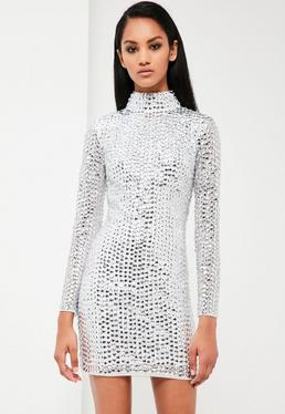 Peace + Love Silver Embellished High Neck Dress