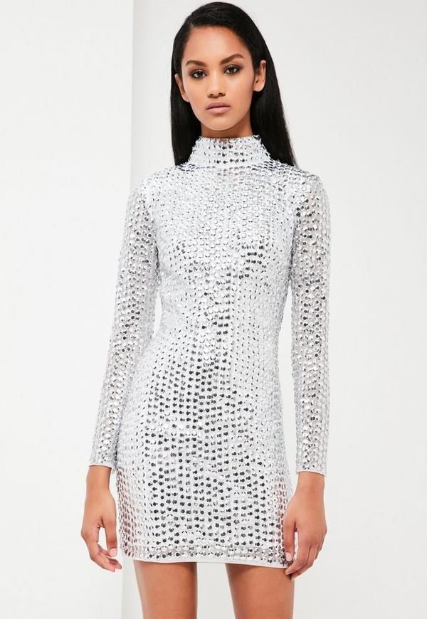 Peace + Love Silver Embellished High Neck Dress