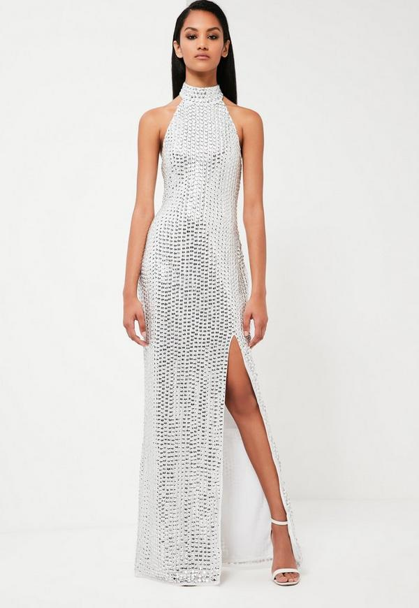 Peace + Love Silver High Neck Maxi Dress