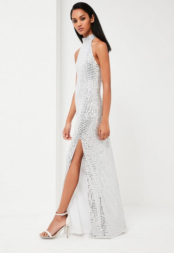 high neck silver dress
