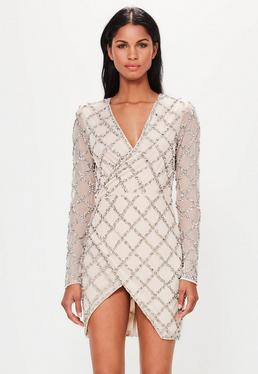 Beżowa zdobiona kopertowa sukienka mini Peace + Love