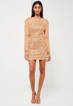Peace + Love Gold Embellished Long Sleeve Dress