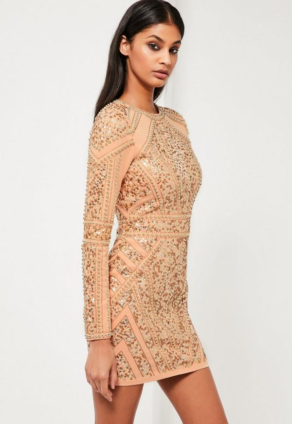 Peace   Love Gold Embellished Long Sleeve Dress - Missguided