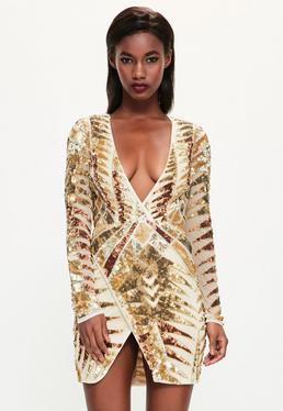 Peace + Love złota krótka kopertowa sukienka z cekinowymi zdobieniami tiger