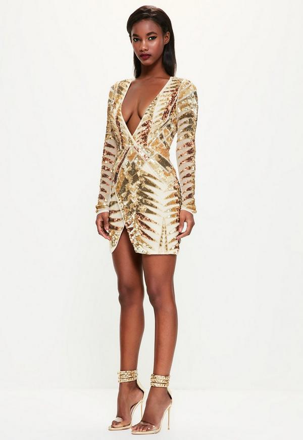 Peace   Love Gold Embellished Wrap Dress - Missguided