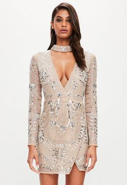 Peace + Love Verziertes Choker Wickel Kleid in Nude
