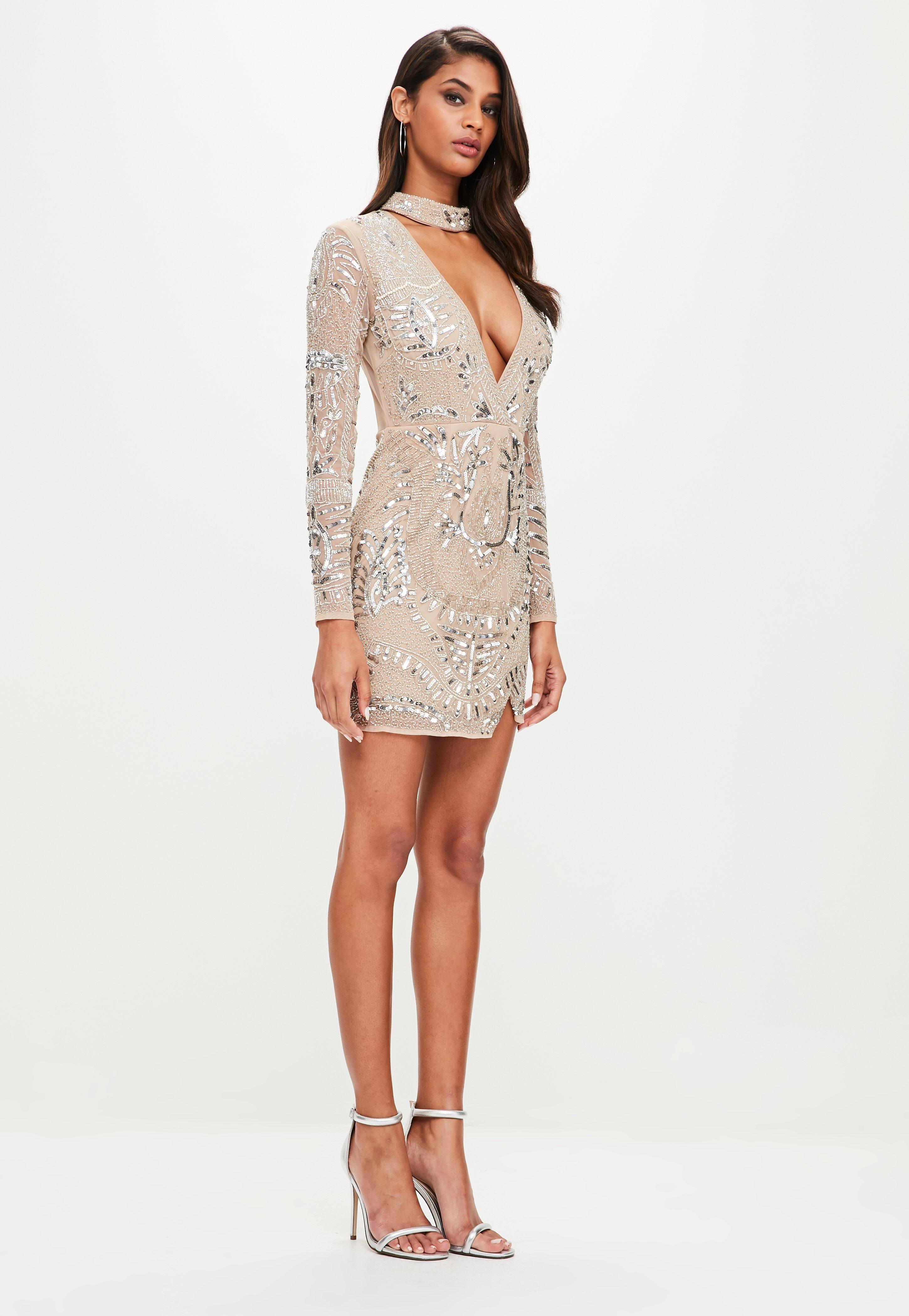 Peace Love Silver Choker Neck Embellished Dress - Silver Missguided Xoasia