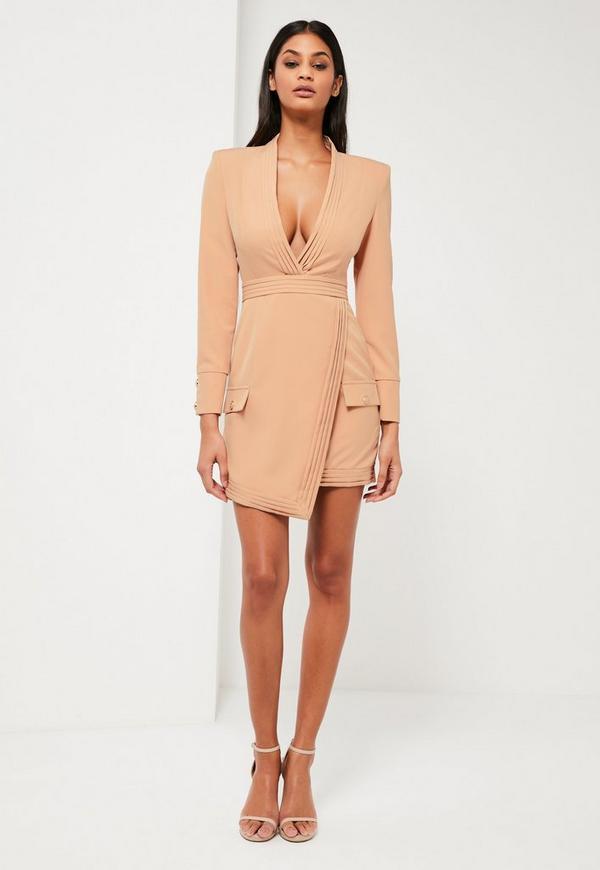 Peace + Love Nude Tailored Pleat Wrap Dress