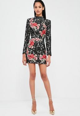 Czarna sukienka mini z koronką i ozdobnym haftem Peace + Love