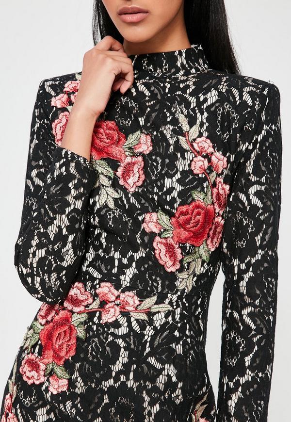 Black lace rose dress