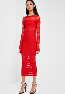 Czerwona bandażowa sukienka midi z wstawkami z siatki Peace + Love