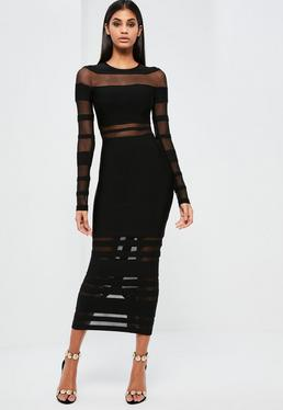 Peace + Love Black Mesh Premium Bandage Midi Dress