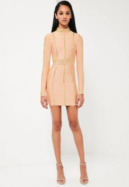 Peace + Love Nude High Neck Premium Bandage Dress