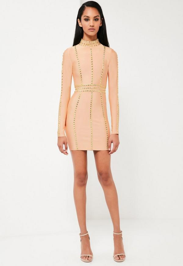 Peace + Love Nude High Neck Premium Bandage Dress