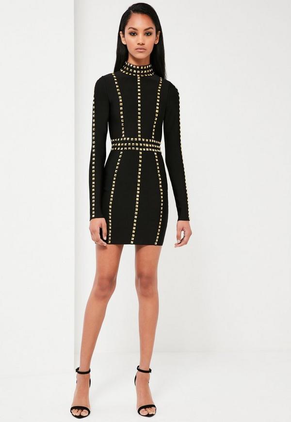 Peace + Love Black High Neck Premium Bandage Dress