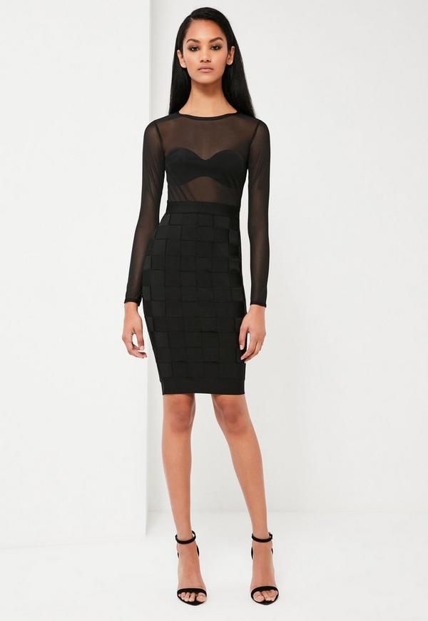 Peace + Love Black Premium Bandage Mesh Top Pencil Dress
