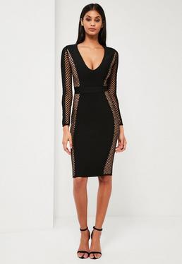 Peace + Love Black Fishnet Premium Bandage Midi Dress