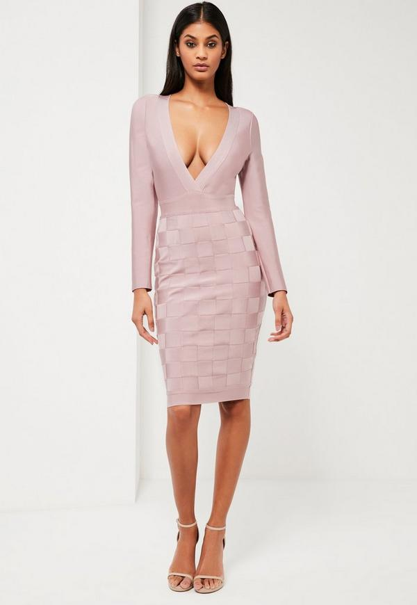 Peace + Love Pink Premium Bandage Wrap Midi Dress