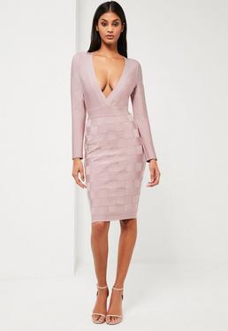 Różowa bandażowa sukienka midi z głębokim dekoltem Peace + Love