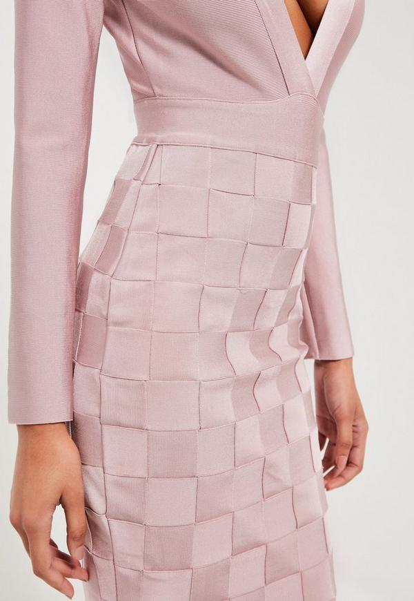 Peace Love Pink Premium Bandage Wrap Midi Dress Missguided