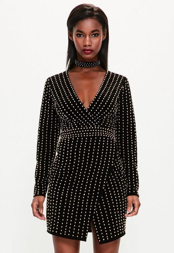 Peace + Love Black Velvet Beaded Plunge Neck Dress