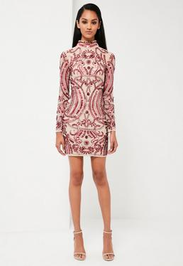 Peace + Love Red Embellished Mini Dress