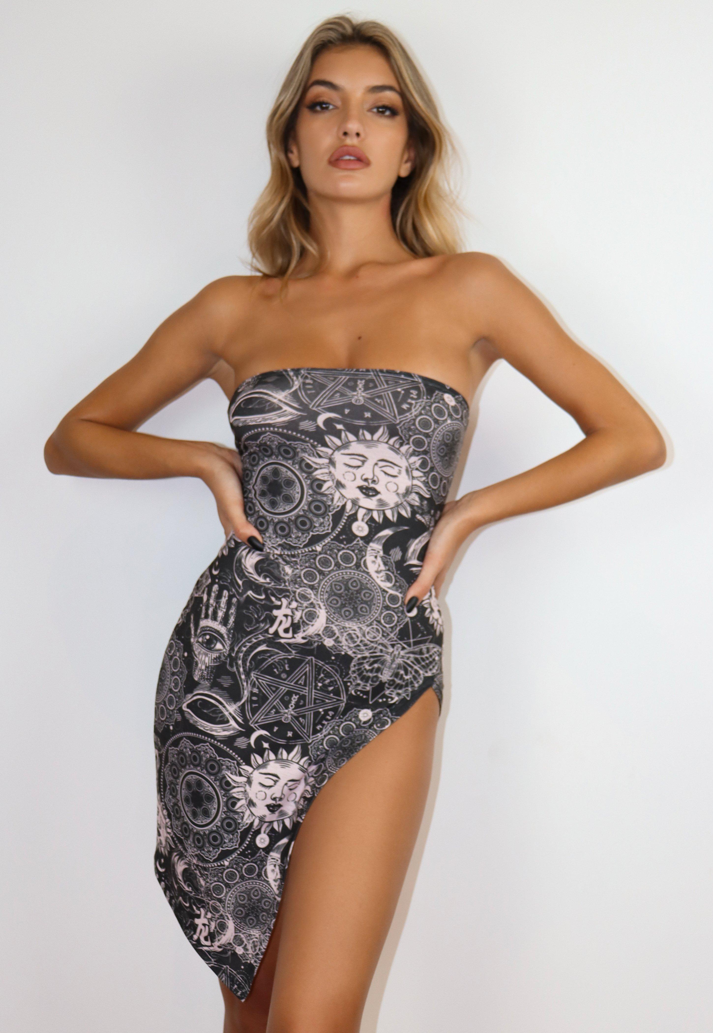 Black Galaxy Print High Leg Split Bandeau Mini Dress